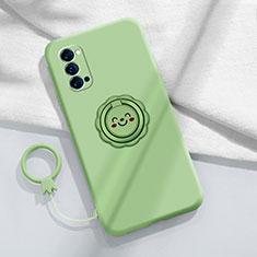 Custodia Silicone Ultra Sottile Morbida Cover con Magnetico Anello Supporto per Oppo Reno4 Pro 5G Ciano