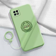 Custodia Silicone Ultra Sottile Morbida Cover con Magnetico Anello Supporto per Oppo Reno4 SE 5G Verde Pastello