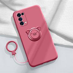 Custodia Silicone Ultra Sottile Morbida Cover con Magnetico Anello Supporto per Oppo Reno5 5G Rosso Rosa