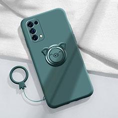 Custodia Silicone Ultra Sottile Morbida Cover con Magnetico Anello Supporto per Oppo Reno5 Pro 5G Verde Notte