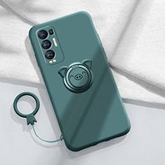 Custodia Silicone Ultra Sottile Morbida Cover con Magnetico Anello Supporto per Oppo Reno5 Pro+ Plus 5G Verde Notte
