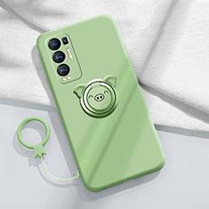Custodia Silicone Ultra Sottile Morbida Cover con Magnetico Anello Supporto per Oppo Reno5 Pro+ Plus 5G Verde Pastello