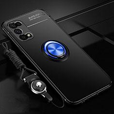 Custodia Silicone Ultra Sottile Morbida Cover con Magnetico Anello Supporto per Realme V5 5G Blu e Nero