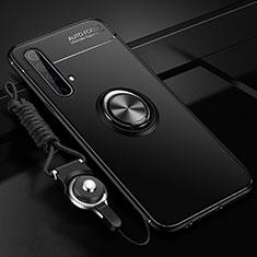 Custodia Silicone Ultra Sottile Morbida Cover con Magnetico Anello Supporto per Realme X50 5G Nero