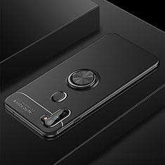 Custodia Silicone Ultra Sottile Morbida Cover con Magnetico Anello Supporto per Samsung Galaxy A11 Nero