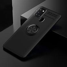 Custodia Silicone Ultra Sottile Morbida Cover con Magnetico Anello Supporto per Samsung Galaxy A21s Nero