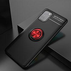Custodia Silicone Ultra Sottile Morbida Cover con Magnetico Anello Supporto per Samsung Galaxy A31 Rosso e Nero