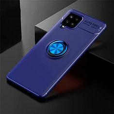 Custodia Silicone Ultra Sottile Morbida Cover con Magnetico Anello Supporto per Samsung Galaxy A42 5G Blu