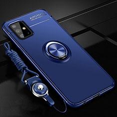 Custodia Silicone Ultra Sottile Morbida Cover con Magnetico Anello Supporto per Samsung Galaxy A51 4G Blu
