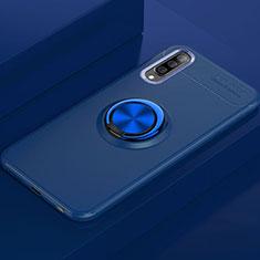 Custodia Silicone Ultra Sottile Morbida Cover con Magnetico Anello Supporto per Samsung Galaxy A70 Blu