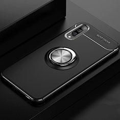 Custodia Silicone Ultra Sottile Morbida Cover con Magnetico Anello Supporto per Samsung Galaxy A70 Nero