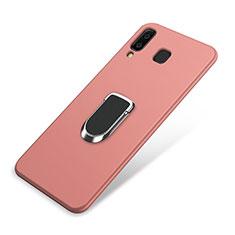 Custodia Silicone Ultra Sottile Morbida Cover con Magnetico Anello Supporto per Samsung Galaxy A9 Star SM-G8850 Rosa