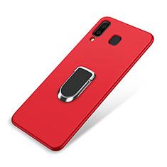 Custodia Silicone Ultra Sottile Morbida Cover con Magnetico Anello Supporto per Samsung Galaxy A9 Star SM-G8850 Rosso