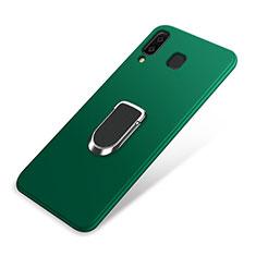 Custodia Silicone Ultra Sottile Morbida Cover con Magnetico Anello Supporto per Samsung Galaxy A9 Star SM-G8850 Verde
