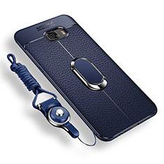Custodia Silicone Ultra Sottile Morbida Cover con Magnetico Anello Supporto per Samsung Galaxy C9 Pro C9000 Blu