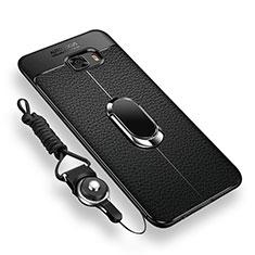 Custodia Silicone Ultra Sottile Morbida Cover con Magnetico Anello Supporto per Samsung Galaxy C9 Pro C9000 Nero