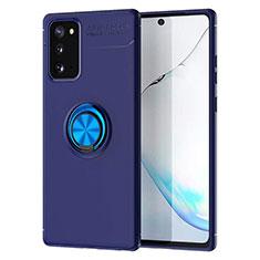 Custodia Silicone Ultra Sottile Morbida Cover con Magnetico Anello Supporto per Samsung Galaxy Note 20 5G Blu
