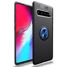 Custodia Silicone Ultra Sottile Morbida Cover con Magnetico Anello Supporto per Samsung Galaxy S10 5G SM-G977B Blu e Nero