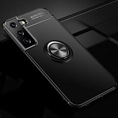 Custodia Silicone Ultra Sottile Morbida Cover con Magnetico Anello Supporto per Samsung Galaxy S21 5G Nero