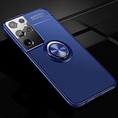Custodia Silicone Ultra Sottile Morbida Cover con Magnetico Anello Supporto per Samsung Galaxy S21 Ultra 5G Blu