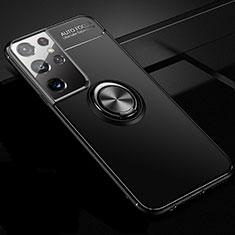 Custodia Silicone Ultra Sottile Morbida Cover con Magnetico Anello Supporto per Samsung Galaxy S21 Ultra 5G Nero