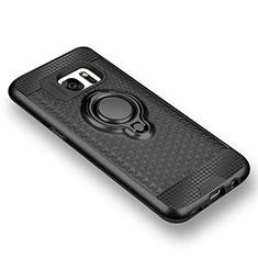 Custodia Silicone Ultra Sottile Morbida Cover con Magnetico Anello Supporto per Samsung Galaxy S7 G930F G930FD Nero