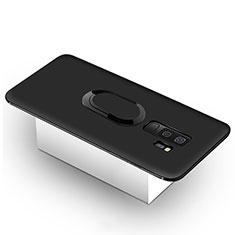 Custodia Silicone Ultra Sottile Morbida Cover con Magnetico Anello Supporto per Samsung Galaxy S9 Plus Nero