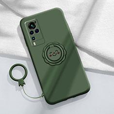 Custodia Silicone Ultra Sottile Morbida Cover con Magnetico Anello Supporto per Vivo X60 Pro 5G Verde Notte