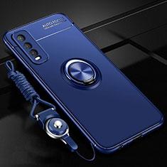 Custodia Silicone Ultra Sottile Morbida Cover con Magnetico Anello Supporto per Vivo Y12s Blu