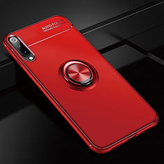 Custodia Silicone Ultra Sottile Morbida Cover con Magnetico Anello Supporto per Xiaomi CC9e Rosso