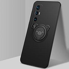 Custodia Silicone Ultra Sottile Morbida Cover con Magnetico Anello Supporto per Xiaomi Mi 10 Ultra Nero