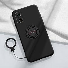 Custodia Silicone Ultra Sottile Morbida Cover con Magnetico Anello Supporto per Xiaomi Mi 10T Pro 5G Nero