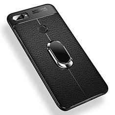 Custodia Silicone Ultra Sottile Morbida Cover con Magnetico Anello Supporto per Xiaomi Mi 8 Lite Nero