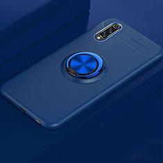 Custodia Silicone Ultra Sottile Morbida Cover con Magnetico Anello Supporto per Xiaomi Mi A3 Blu