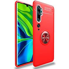 Custodia Silicone Ultra Sottile Morbida Cover con Magnetico Anello Supporto per Xiaomi Mi Note 10 Rosso