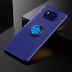 Custodia Silicone Ultra Sottile Morbida Cover con Magnetico Anello Supporto per Xiaomi Poco X3 NFC Blu