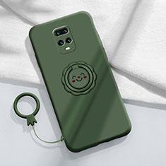 Custodia Silicone Ultra Sottile Morbida Cover con Magnetico Anello Supporto per Xiaomi Redmi 10X Pro 5G Verde