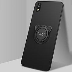 Custodia Silicone Ultra Sottile Morbida Cover con Magnetico Anello Supporto per Xiaomi Redmi 7A Nero