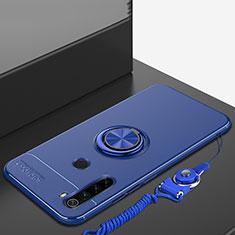 Custodia Silicone Ultra Sottile Morbida Cover con Magnetico Anello Supporto per Xiaomi Redmi Note 8 Blu