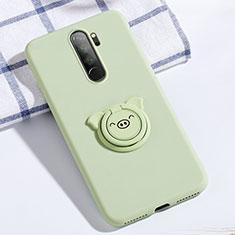 Custodia Silicone Ultra Sottile Morbida Cover con Magnetico Anello Supporto per Xiaomi Redmi Note 8 Pro Verde