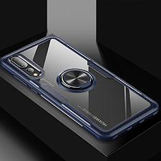 Custodia Silicone Ultra Sottile Morbida Cover con Magnetico Anello Supporto R01 per Huawei P20 Pro Blu
