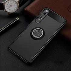 Custodia Silicone Ultra Sottile Morbida Cover con Magnetico Anello Supporto S01 per Huawei P20 Pro Nero