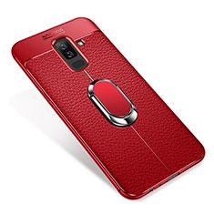 Custodia Silicone Ultra Sottile Morbida Cover con Magnetico Anello Supporto S01 per Samsung Galaxy A9 Star Lite Rosso