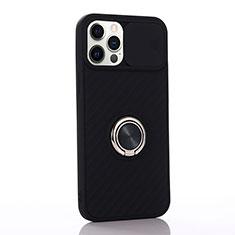 Custodia Silicone Ultra Sottile Morbida Cover con Magnetico Anello Supporto T01 per Apple iPhone 12 Pro Max Nero