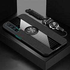 Custodia Silicone Ultra Sottile Morbida Cover con Magnetico Anello Supporto T01 per Huawei Honor 20 Pro Nero