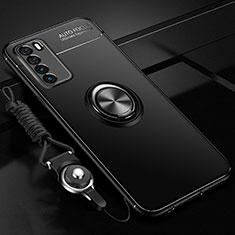 Custodia Silicone Ultra Sottile Morbida Cover con Magnetico Anello Supporto T01 per Huawei Honor Play4 5G Nero