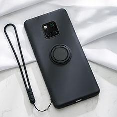 Custodia Silicone Ultra Sottile Morbida Cover con Magnetico Anello Supporto T01 per Huawei Mate 20 Pro Nero