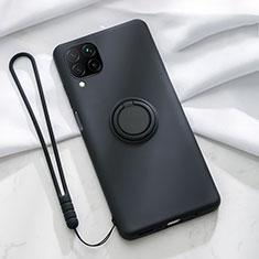 Custodia Silicone Ultra Sottile Morbida Cover con Magnetico Anello Supporto T01 per Huawei P40 Lite Nero