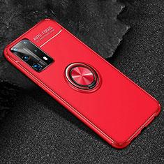 Custodia Silicone Ultra Sottile Morbida Cover con Magnetico Anello Supporto T01 per Huawei P40 Pro+ Plus Rosso