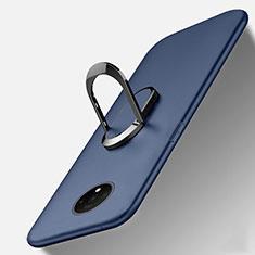 Custodia Silicone Ultra Sottile Morbida Cover con Magnetico Anello Supporto T01 per OnePlus 7T Blu
